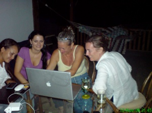 Skyping Sis at the party ... A hoot and a half!